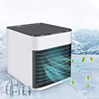 WSGQLT Personal Air Cooler, 4 in 1 Air Space Conditioner, Mini USB Fan Evaporative Humidifier Purifier with 7 Colors LED, Portable Desk Cooling Fan for Home Room Office Outdoor
