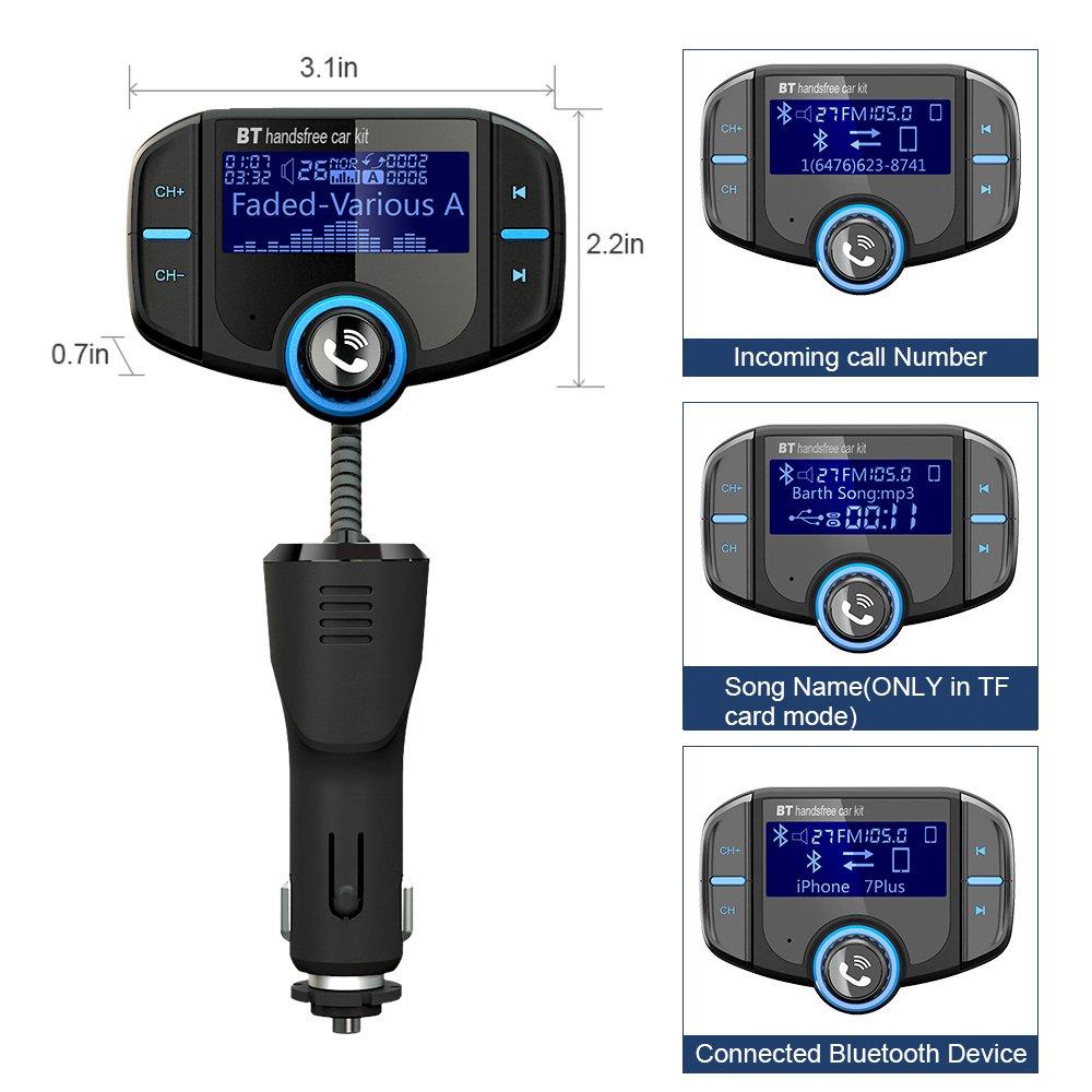 Adaptador de Radio Apoyo iphone TF Tarjeta andriod tablet ipad Adaptador de Coche GRDE V4.2 Manos Libres Bluetooth Transmisor FM Coche Funci/ón incorporada de A2DP con Dual USB QC3.0 USB y 2.4A