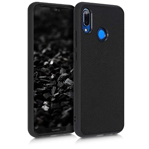 kwmobile Case for Huawei P20 Lite - Durable Heavy Duty Nylon Back Case Shockproof Protective Cover - Black