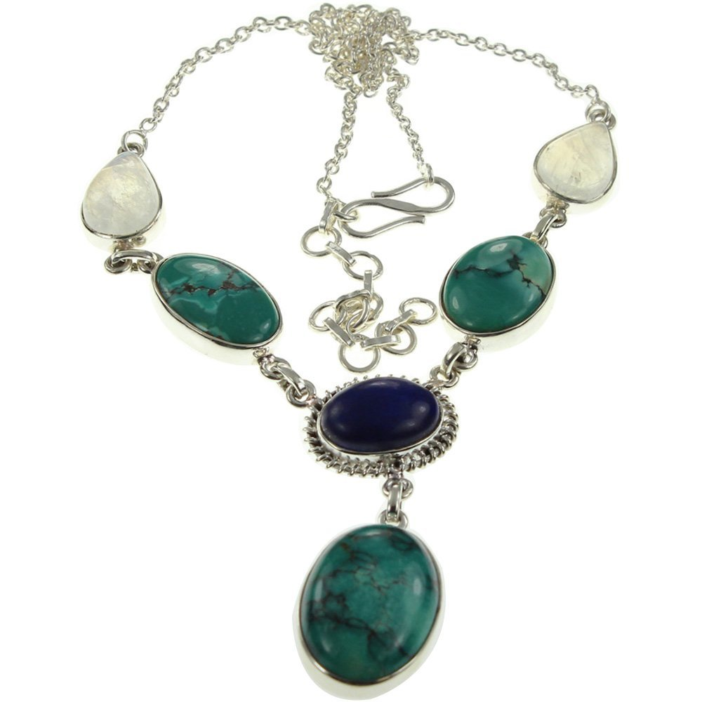 925 Sterling Silver TURQUOISE, RAINBOW MOONSTONE, LAPIS LAZULI Necklace, 17.5 - 18.5''