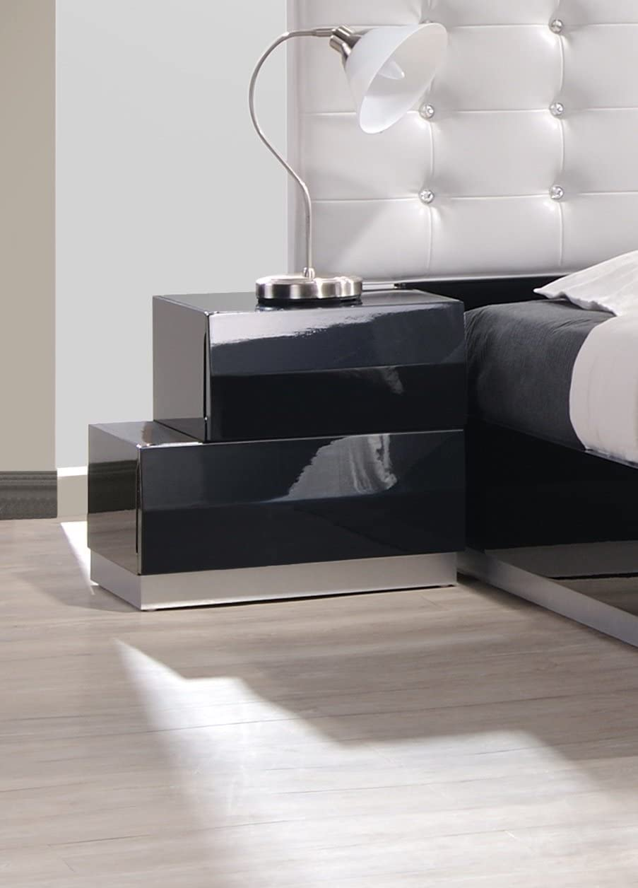 J and M Furniture Milan Left Facing Night Stand in Black