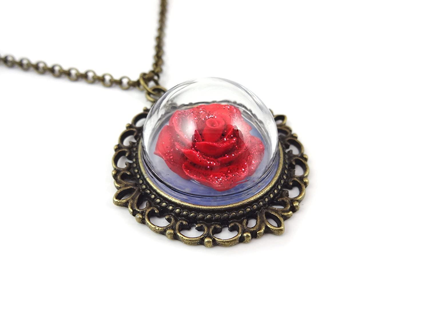 Amazon beauty and the beast enchanted red rose glass dome amazon beauty and the beast enchanted red rose glass dome bronze necklace 20 in fairy tale wedding jewelry jewelry mozeypictures Choice Image