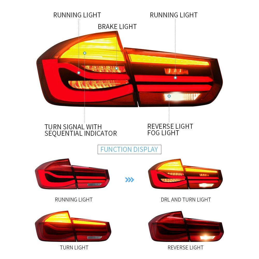 E-MARK LED BAR Ensemble de feux arri/ère pour s/érie 3 F30 F35 2012-2015 rouge Clignotants s/équentiels
