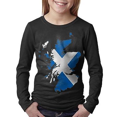 08&FD0 Scotland Flag Map Adolescent Round Neck Shirt