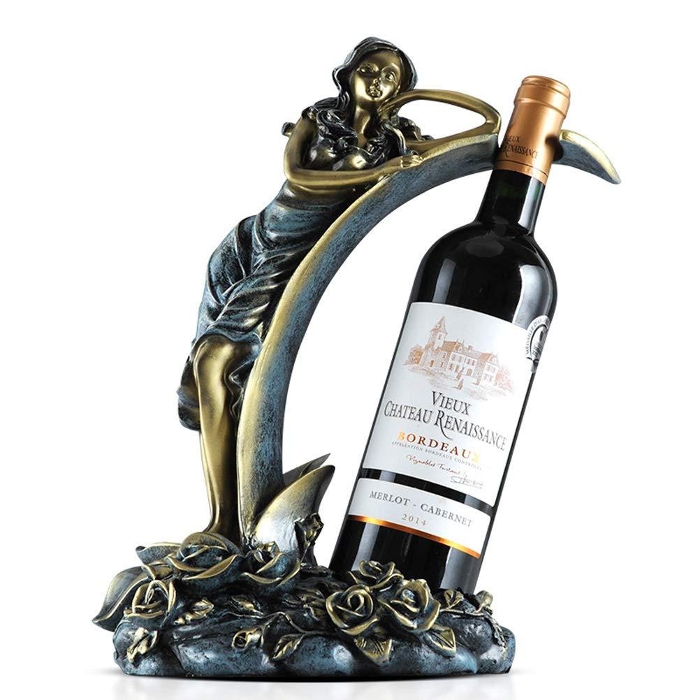 ZYM armarios para vino Estante de vino para mesa, una sola botella, estante de vino para mostrador, adornos para el hogar, artesanías, resina duradera de primera calidad en forma de flor de hada, 25x1