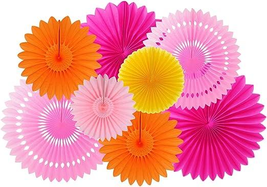 Pack of 6 Paper Fan Flower Hanging Pinwheels Baby Shower Home Living Room Decor