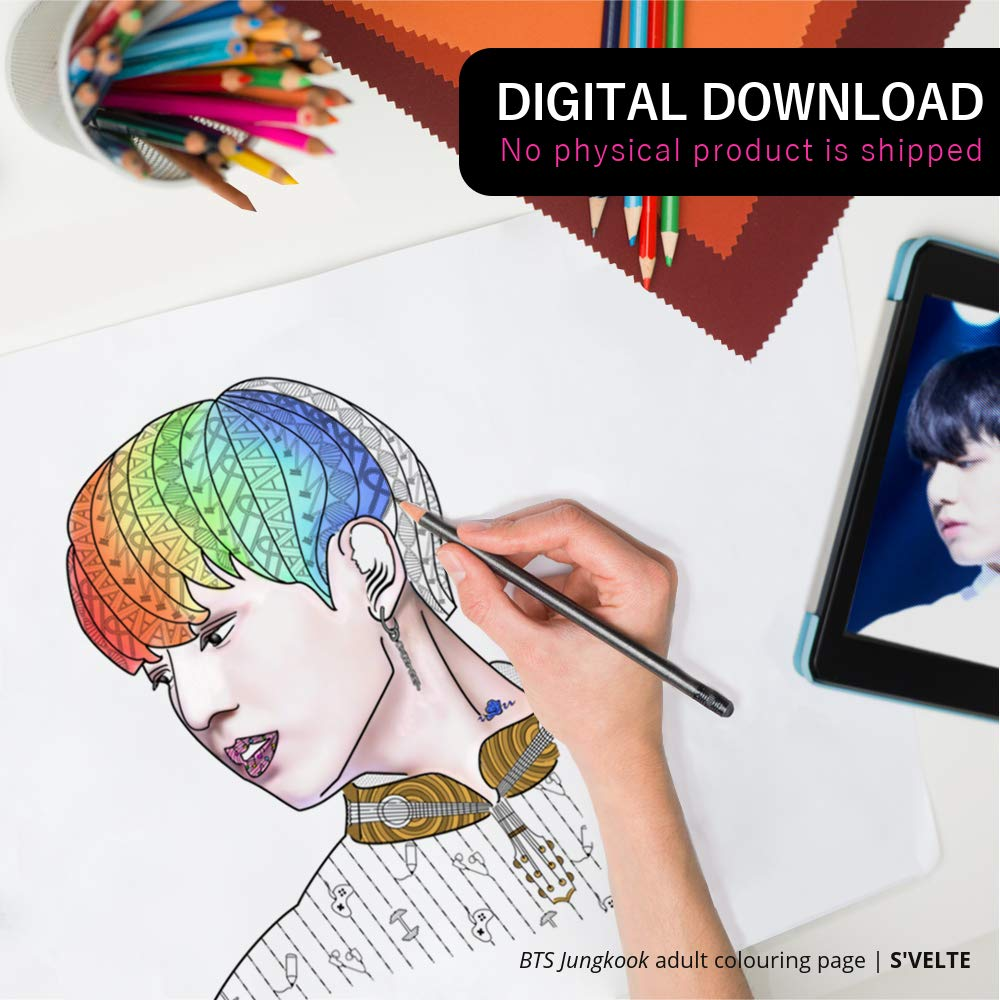 Kpop Coloring: BTS Jungkook digital colouring page for adults. A fan art printable by S'VELTE.