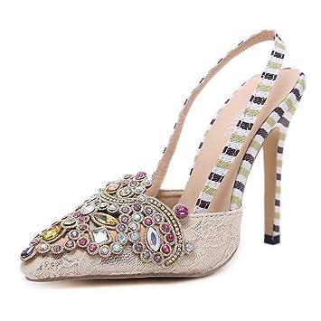958d971688026 12Cm Stiletto Pointed Toe Slingbacks Sandals Women Sweet Rhinestone Ankle  Straps High Heel Party Dress Sheos
