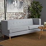 Mason Mid Century Modern Fabric Sofa (Light Grey)