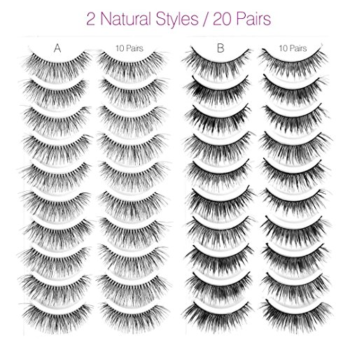 Goldrose-20-Pairs-Handmade-Natural-Fashion-Long-False-Eyelashes-Fake-Eye-Lash-for-Makeup-Cosmetic2-Styles-10-Pairs-Each-Style-with-Curved-Scissors