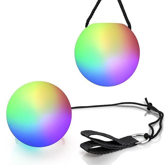 Amazon.com: LED Poi bola Swirling Luz Rave Toy (Set de 2 ...