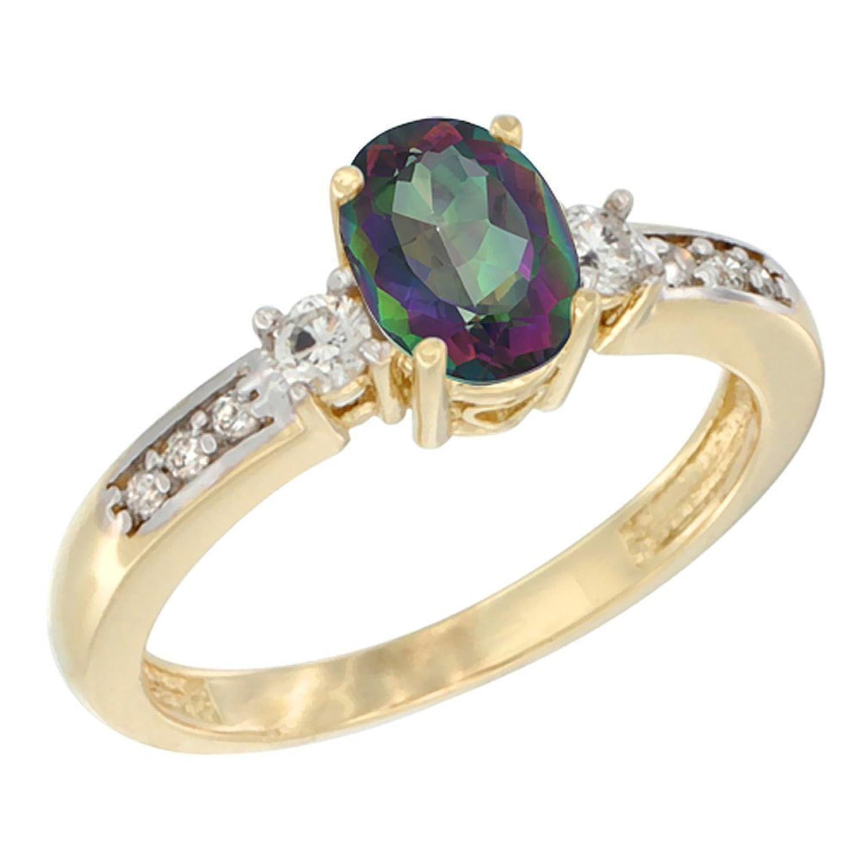10K White Gold Diamond Natural Mystic Topaz Engagement Ring Oval 7×5 mm, sizes 5 – 10