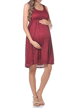 49edc949e342a Beachcoco Women's Maternity Knee Length Sleeveless Lace Dress Made in USA  (X-Small,