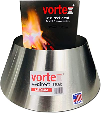 VORTEX IN DIRECT HEAT for Charcoal Grills, Medium Size – Fits Weber Kettle 22 26.75 WSM Smokey Mountain XL Kamado XL Big Green Egg