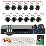 GW Security VD16C12CH891CVI 16-Channel 1080p Preview 720p Realtime Varifocal Zoom Night Vision Dome Security Camera DVR System with 3TB Hard Drive (White)