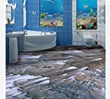 ZLJTYN 240cmX160cm Custom 3 d PVC wallpaper photo wallpaper The bathroom toilet limpid streams 3 d floor painting pictures floor wallpaper
