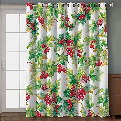 iPrint Blackout Patio Door Curtain,Rowan,Watercolor Style Branches with Rowan Berries Winter Christmas Concept,Scarlet Mustard Green,for Sliding & Patio Doors, 102
