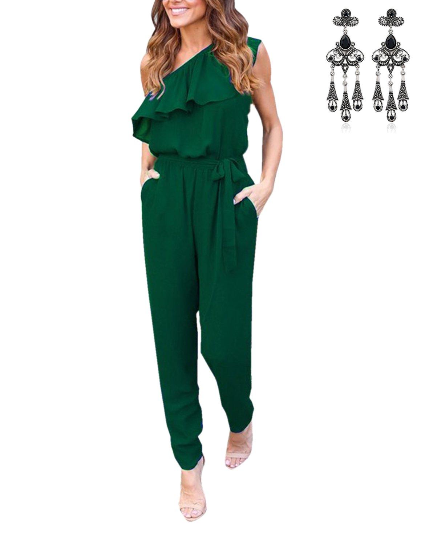 MODETREND Mujer Mono Jumpsuits Elegante One-hombro Bodysuit Verano Pantalones Largos para Fiesta Playa Beachwear
