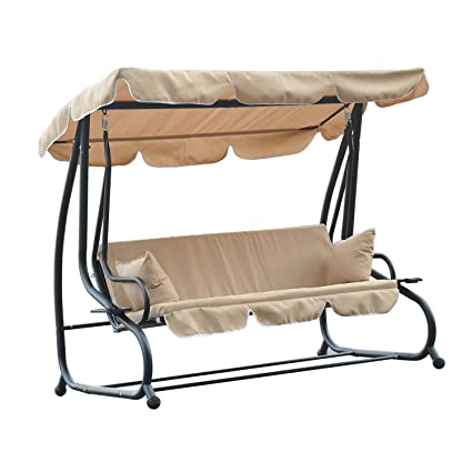 Amazon Com Outsunny Covered Outdoor Porch Swing Bed With Steel