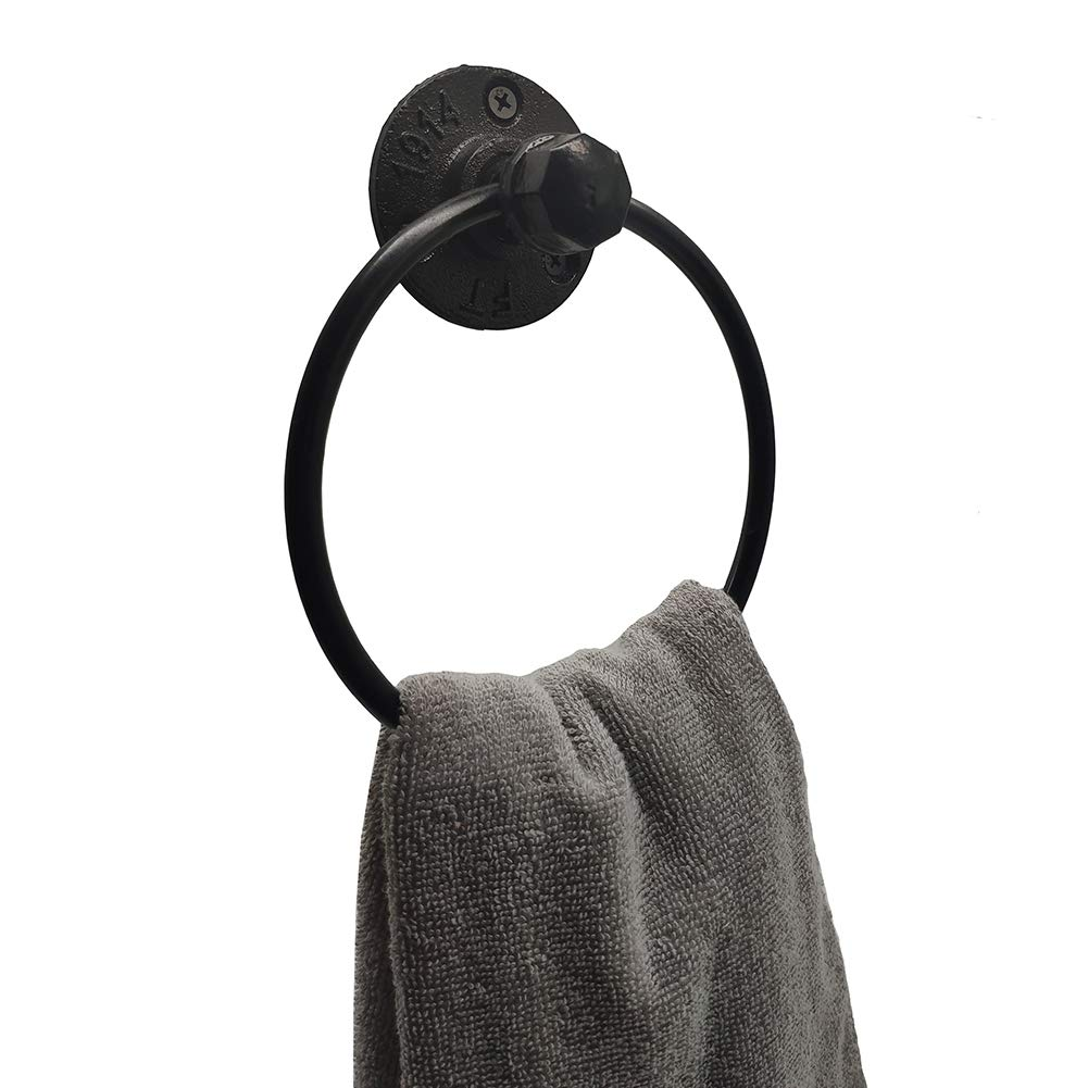 Retro one Industrial Towel Ring Rustic Pipe Hand Towel Holder Wall Mounted for Bathroom by Retro one