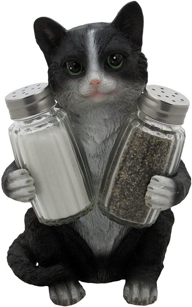 2 Cat Ceramic Figurine Salt Pepper Shaker with Tray Statue