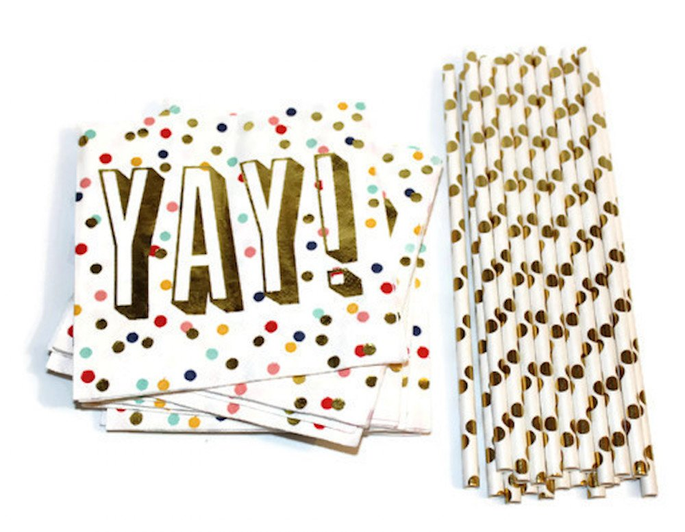 Party Bundle: Paper Napkins (20 Ct) and Straws (20 Ct) - Yay! Printed in Gold Foil with Polka Dot design - Perfect for all Occasions: birthday, bachelorette, baby shower