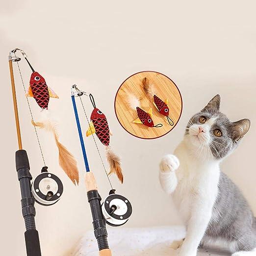 Liteness Juguetes para Gatos Interactivo Pequeño pez Mouse Tease Sticks Juguete Gato Mascota Tease Cat Rods Cat Pen Toys Rod Roped Pet Toy Classical: Amazon.es: Hogar