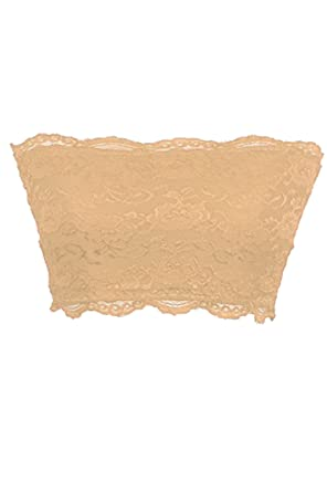 55732e525b8a1 TL Women s Full Floral Lace Strapless Seamless Stretchy Bandeau Tube Bra Top  - Beige -