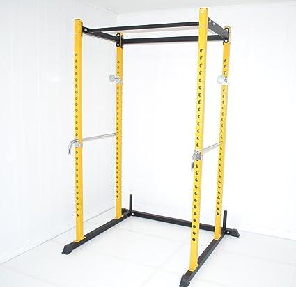 Amazon.com: Yellow / Black Atlas Power Rack Squat Deadlift Cage with Bench Racks: Sports & Outdoors