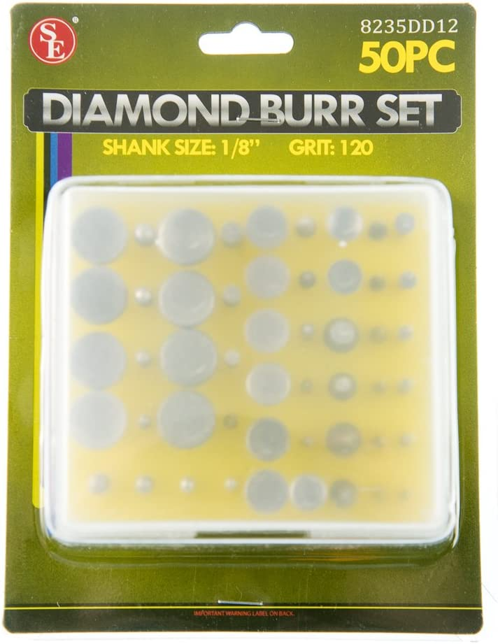 - 8235DD12 SE Assorted Diamond Burr Set 120 Grit with 1//8 Shank 50 PC.