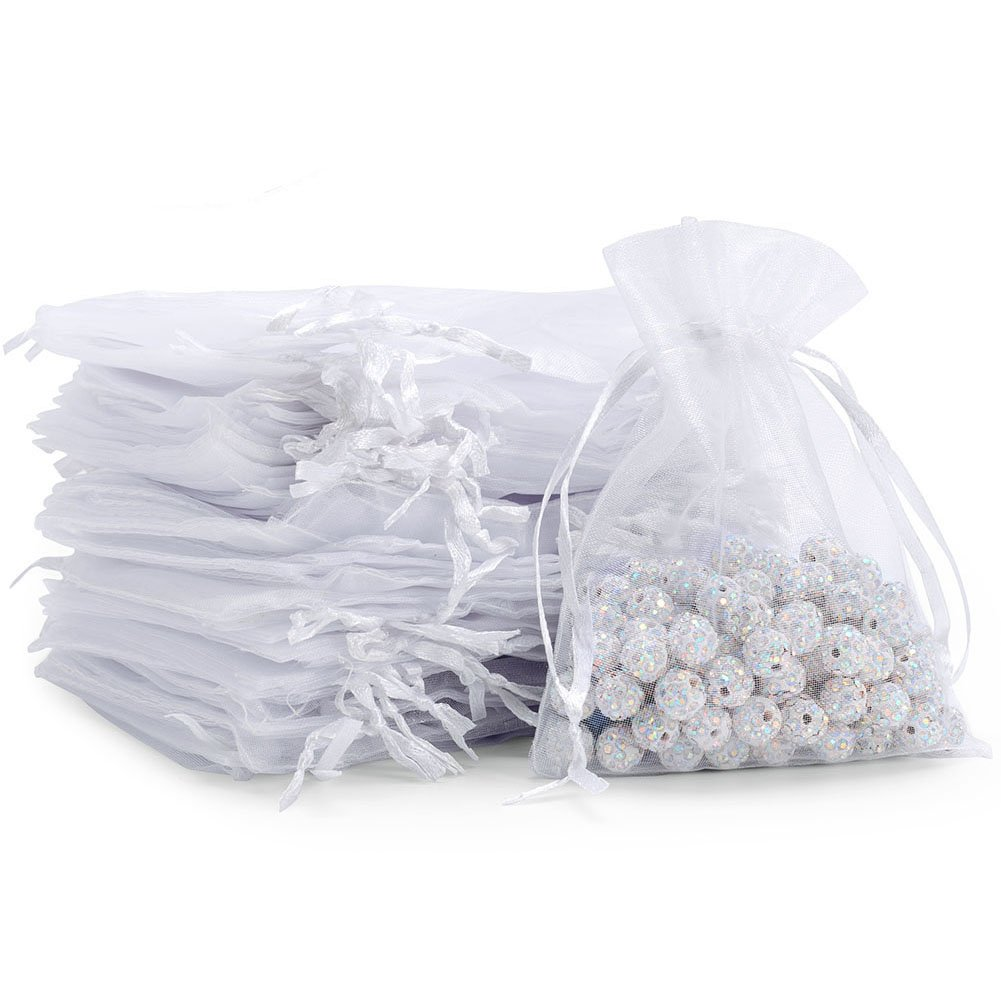 handrong 100pcs Sheer Drawstring Organza Gift Bags Jewelry Candy Chocolate mesh Pouches Wedding Party Bridal Baby Shower Birthday Engagement Christmas Holiday Favor, 5 x 4 inch [White]