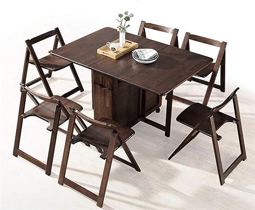 NNDQ Juego de Mesa de Comedor Combinado con 6 sillas Plegables, Plegable telescópica, Ahorra Espacio, Estructura Estable, sin sacudidas, Adecuado para familias al Aire Libre: Amazon.es: Hogar