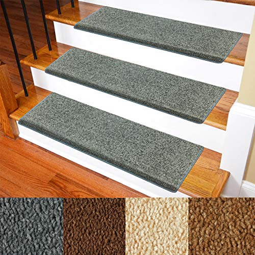 Carpet Stair Treads - Non-Slip Bullnose Carpet for Stairs - Indoor Stair Pads - Self-Adhesive & Easy Installation - Pet & Child Friendly - Skid Resistant & Washable - 14- Pack Grey 10