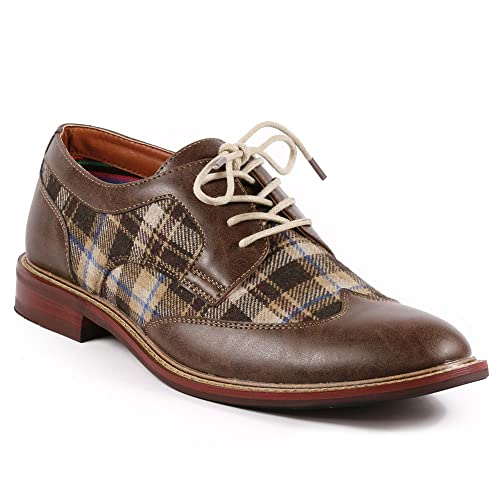 89cff5a033eaf Metrocharm MET525-1 Men's Plaid Lace Up Wing Tip Classic Oxford Dress Shoes