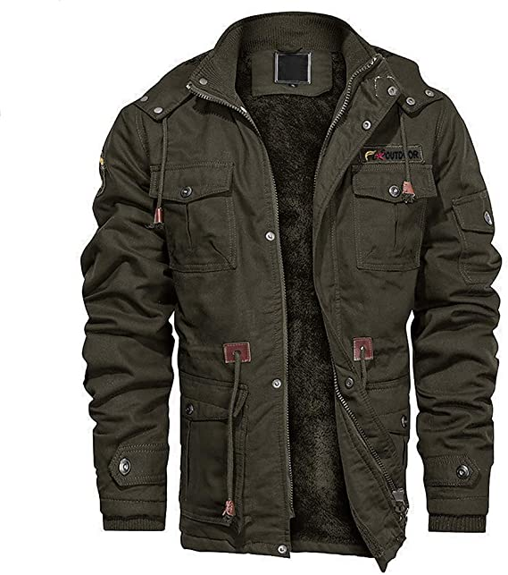 EKLENTSON Mens Cotton Military Jacket Winter Fleece Coats Full Zip Warm Thick Coats Multi Pocket Outwear with Removable Hood
