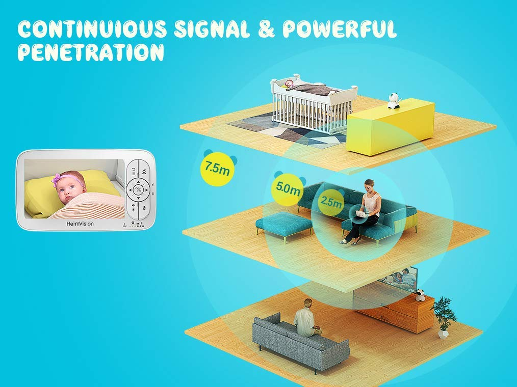 Infrared Night Vision VOX 1000ft Connection Lullaby HeimVision HM136 HD Video Baby Monitor with 720p Camera Two-Way Audio 5 LCD Display Temperature/& Sound Alarm