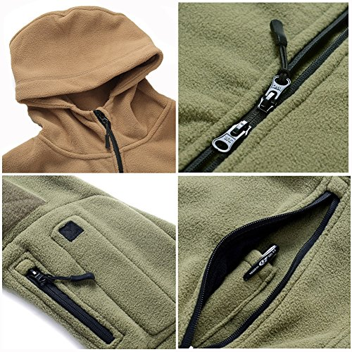 ReFire Gear Men's Warm Military Tactical Sport Fleece Hoodie Jacket, Army Green, X-Large by ReFire Gear (Image #7)