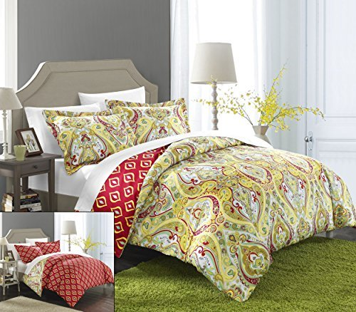 Chic Home 3 Piece Paisley Global Inspired Delhi Reversibl...