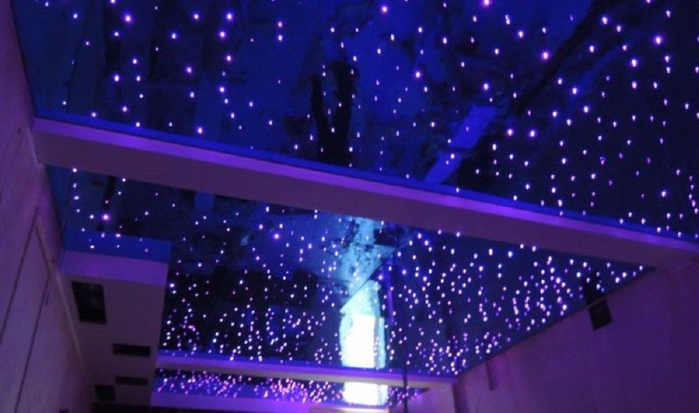 1000PCS*0.03in*16.5ft 32/W effetto lampeggio da soffitto con telecomando RF con 28 tasti Kit in fibra ottica per cielo stellato LED RGBW