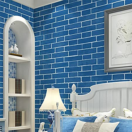 Imitation Brick Non Woven Fabric Wallpaper Mediterranean Blue Living Room