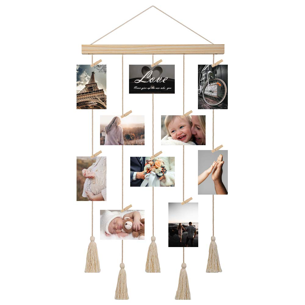 JAGOGOHOME Hanging Photo Display with Macrame, Boho Decorative Wall Hanging Pictures Organizer, Perfect for Home Decor, with 20 Wooden Clips (B-White)