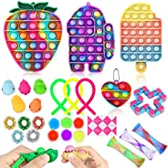 Fidget Toy Set, Cheap Sensory Toys Pack for Kids Adults, Fidget Box with Simple Dimple and Pop on it Toy, Squi