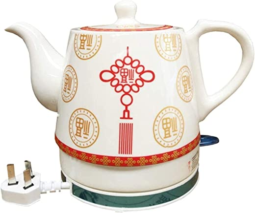غلاية كهربائية سيراميك أبيض إبريق شاي لاسلكي باك كارافي 1 لتر، 1350W ماء الشاي السريع، القهوة، حساء، قاعدة قابلة للإزالة لتناول الشوفان