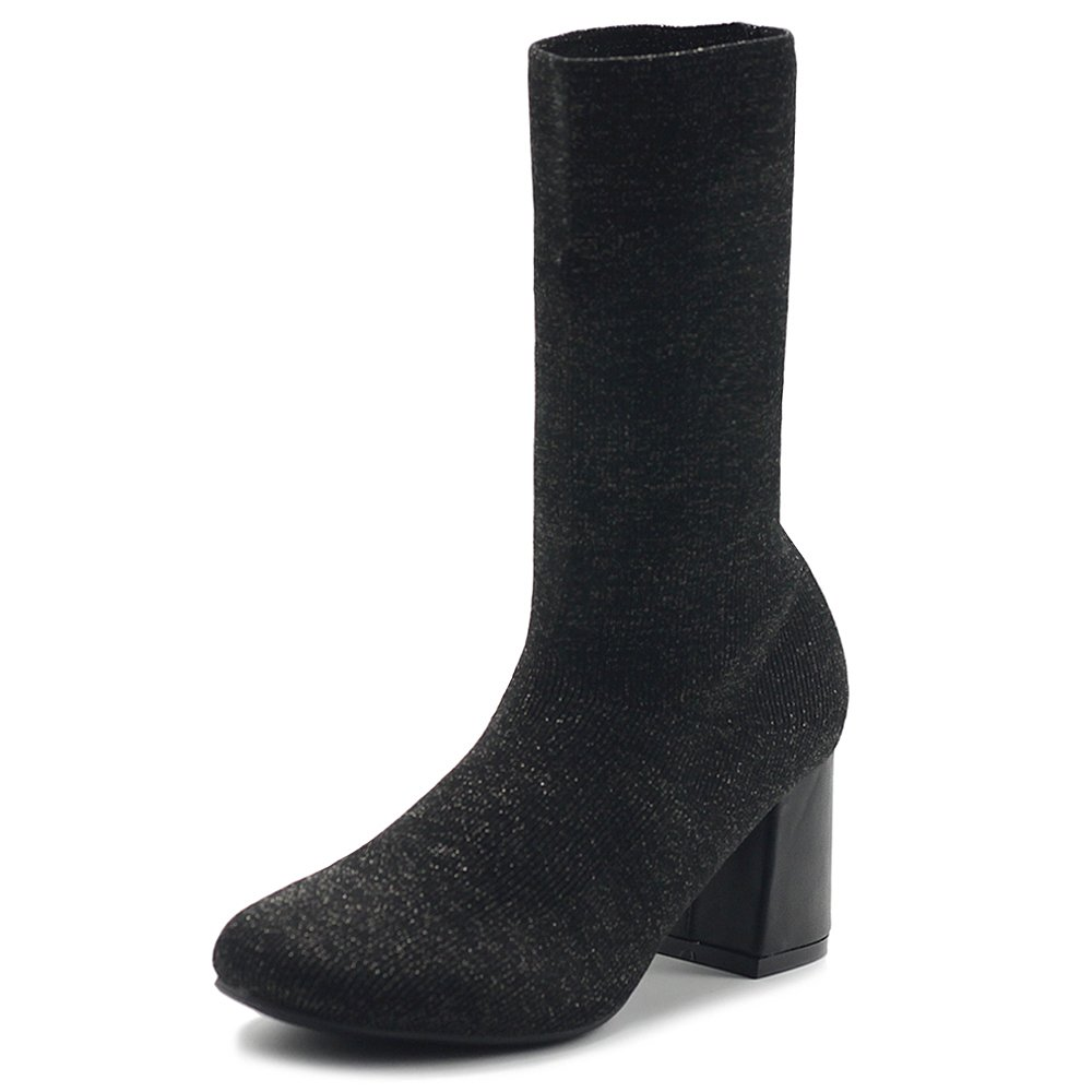 Black-gl Ollio Women's shoes Knitted Stretch Sock Faux Suede or Gliter Ankle Boots