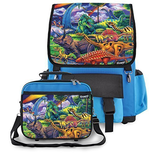 Kidaroo High Quality Backpack & Lunchbox for Boys, Girls, Kids With Dinosaur Jungle Interchangeable Flaps (Blue)