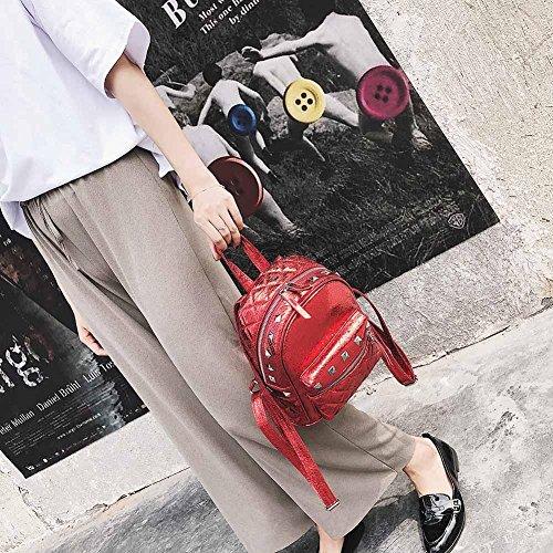 PU Shoulder Rivets Mini Glitter Leather Women Girls Everpert Backpacks Bags Red Street xqwTEg