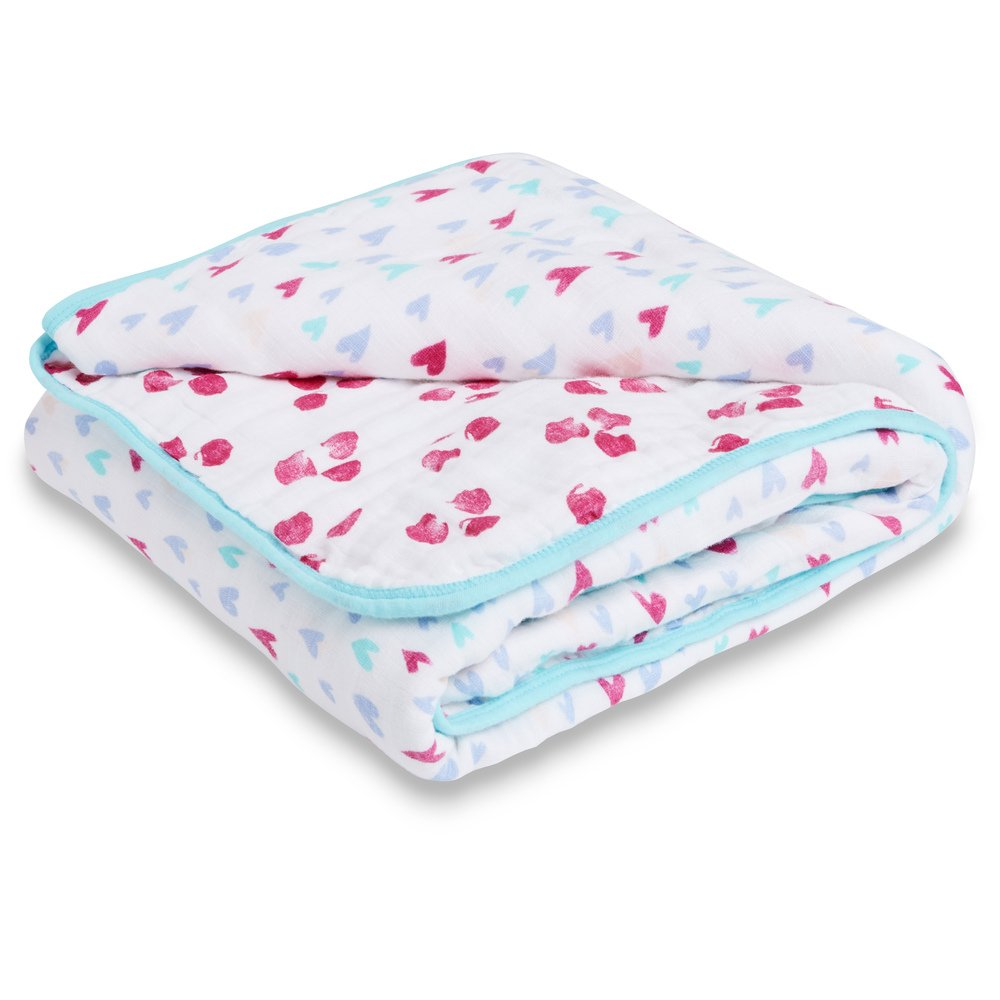 Aden by Aden + Anais Muslin Blanket, 100% Cotton Muslin, 4 Layer Lightweight and Breathable, Large 44 X 44 inch, Summer Soiree
