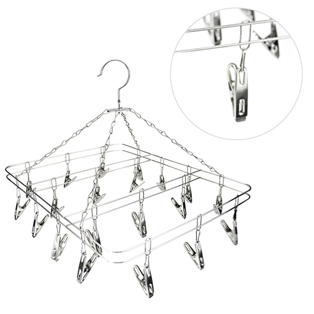 MEIBY Sock Dryer, Stainless Steel Drying Rack Clip Drip Hanger 20 Clips Hanging Clothes Socks Short Underwear Towels Dryer, Laundry Drying Hanger