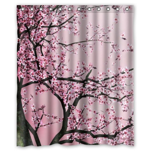 Beautiful Cherry Blossom Tree, Japan Cherry Blossom Art 100% Polyester Shower Curtain (36 Wide x 72 Long) Zp Shine