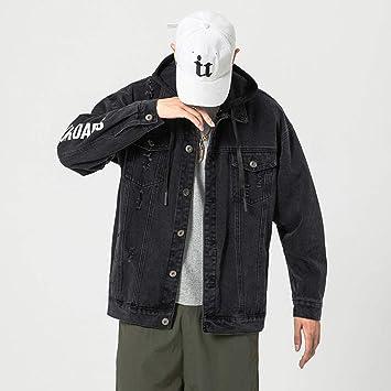 メンズデニムジャケットユースツーリングリップドデニムジャケット秋ゆったり大きいサイズ